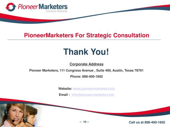 PioneerMarketers For Strategic Consultation
