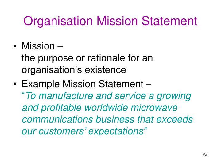 Organisation Mission Statement