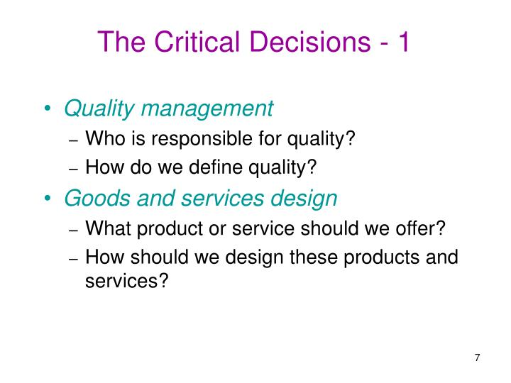 The Critical Decisions - 1
