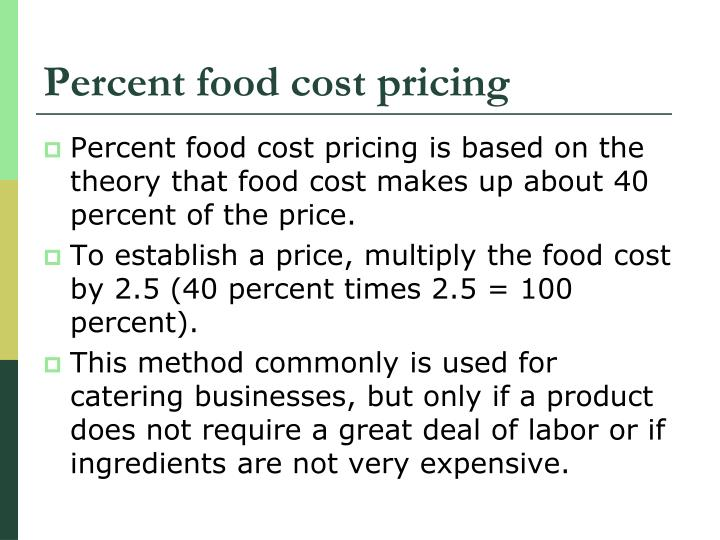 Percent food cost pricing