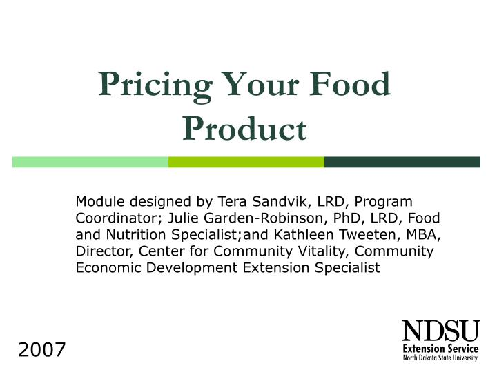 Pricing your food product