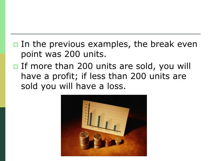 In the previous examples, the break even point was 200 units.
