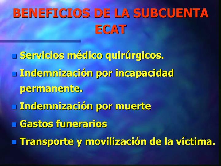 BENEFICIOS DE LA SUBCUENTA ECAT