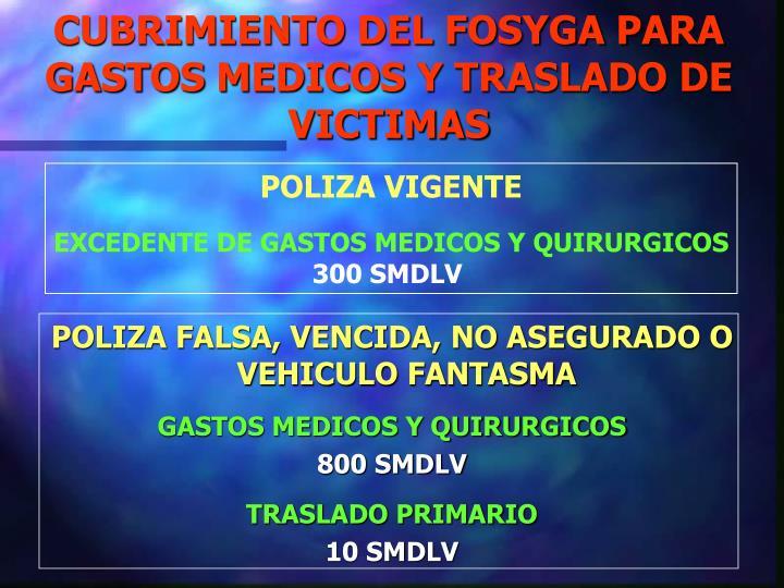 CUBRIMIENTO DEL FOSYGA PARA GASTOS MEDICOS Y TRASLADO DE VICTIMAS