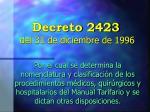 decreto 2423 del 31 de diciembre de 19961