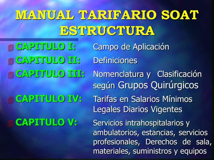 MANUAL TARIFARIO SOAT ESTRUCTURA