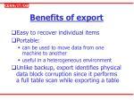 benefits of export