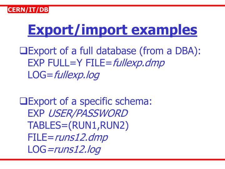 Export/import examples
