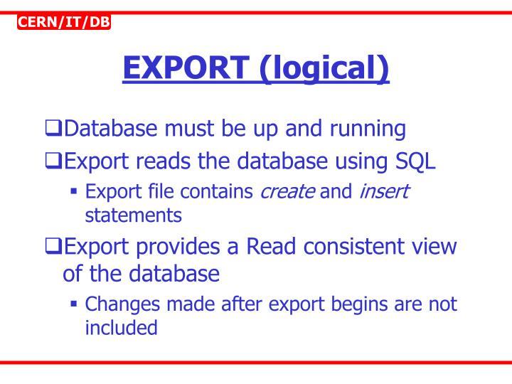 EXPORT (logical)