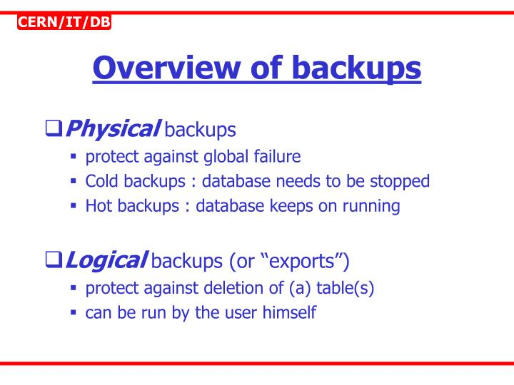 Overview of backups