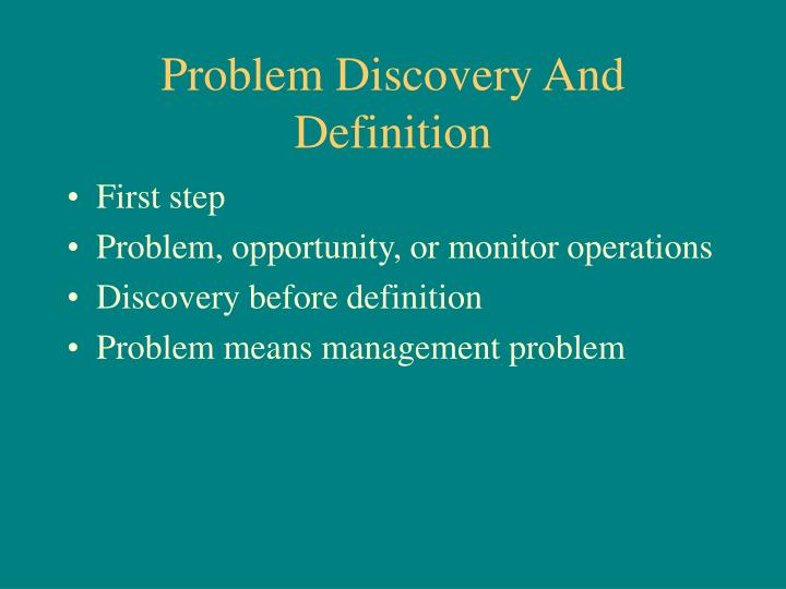 Problem Discovery And Definition