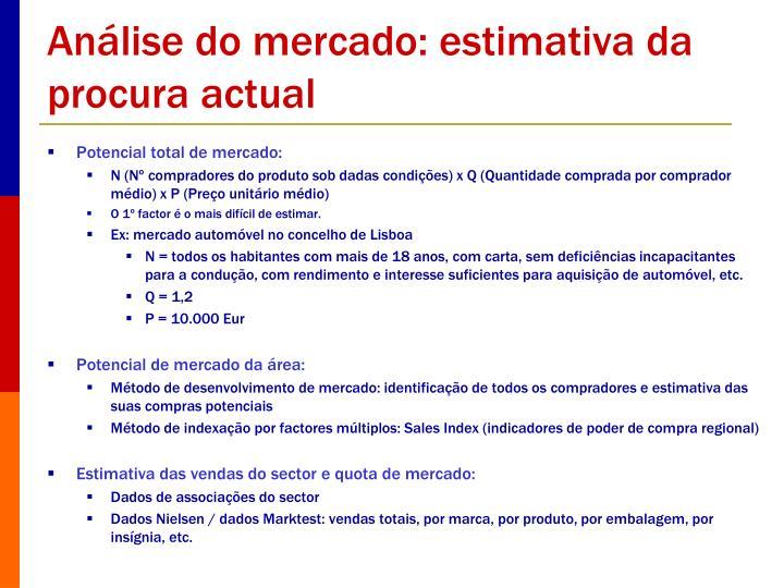 Análise do mercado: estimativa da procura actual