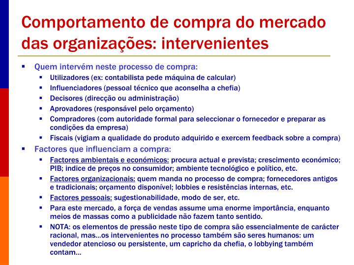 Comportamento de compra do mercado das organizações: intervenientes