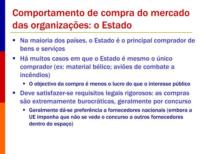 Comportamento de compra do mercado das organizações: o Estado
