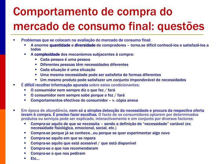 Comportamento de compra do mercado de consumo final: questões