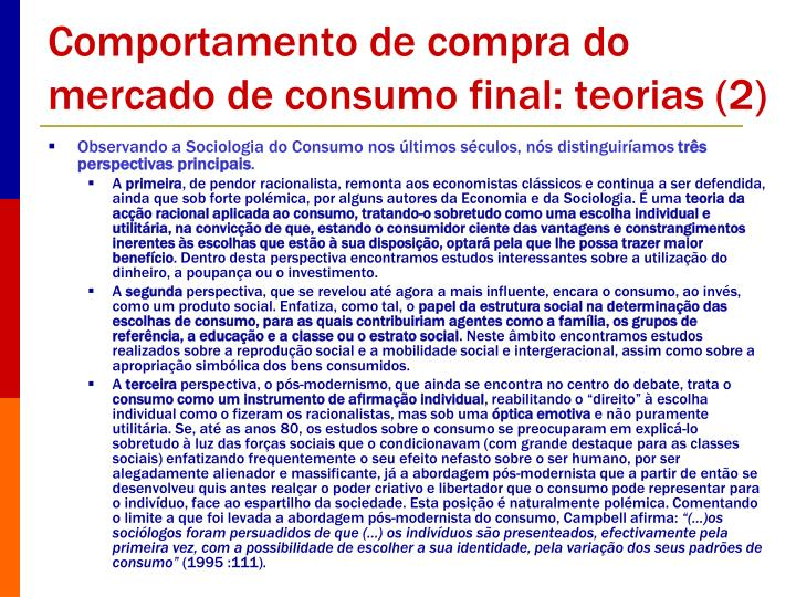 Comportamento de compra do mercado de consumo final: teorias (2)