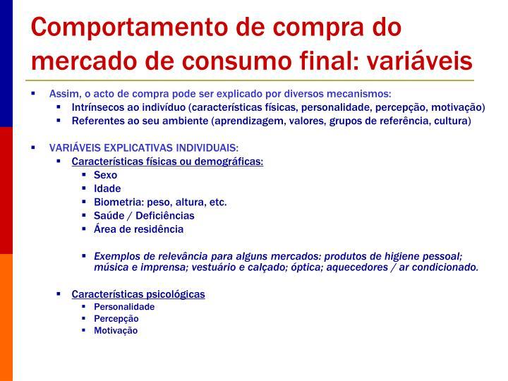Comportamento de compra do mercado de consumo final: variáveis