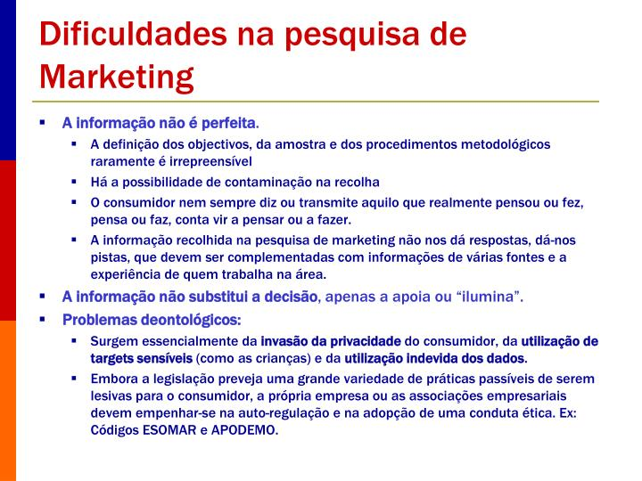 Dificuldades na pesquisa de Marketing