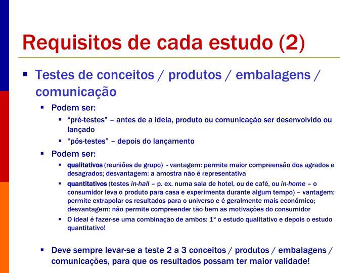 Requisitos de cada estudo (2)