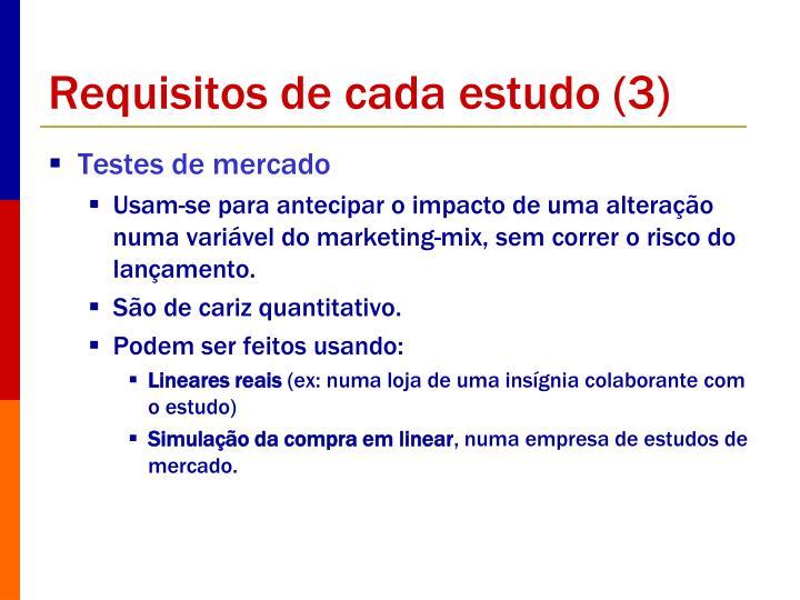 Requisitos de cada estudo (3)