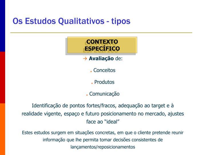 Os Estudos Qualitativos - tipos