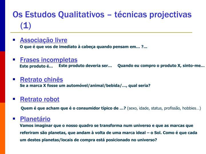 Os Estudos Qualitativos – técnicas projectivas (1)