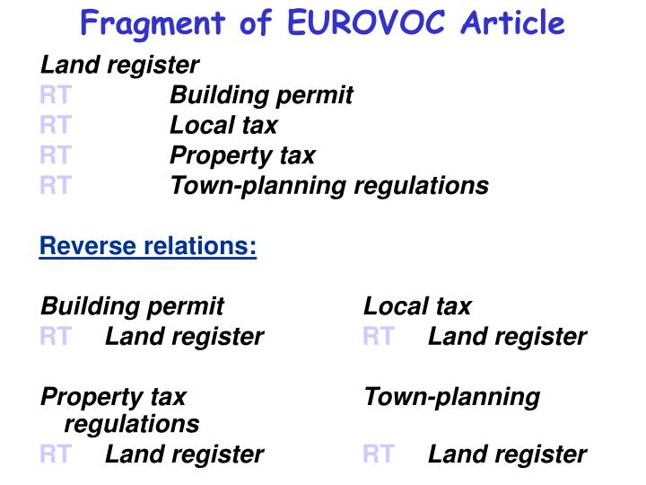 Fragment of EUROVOC Article