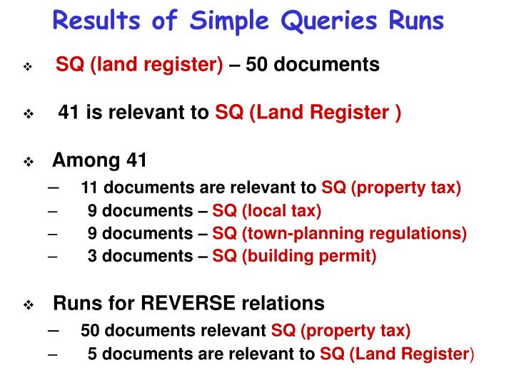 Results of Simple Queries Runs