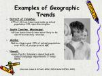 examples of geographic trends