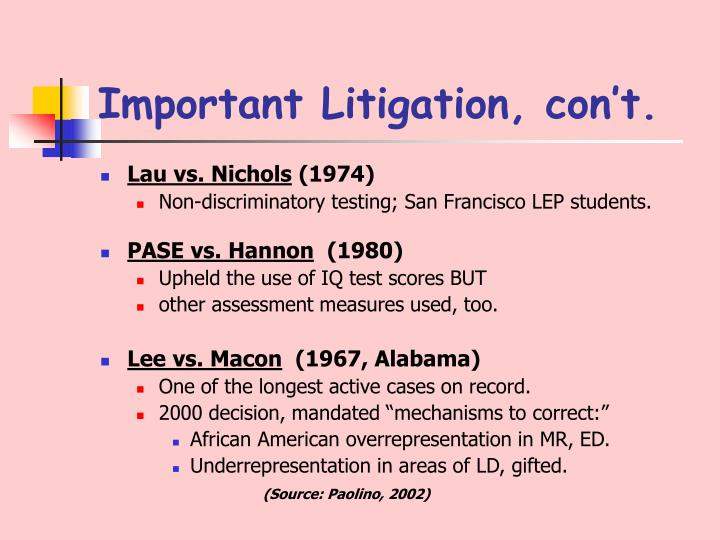 Important Litigation, con't.