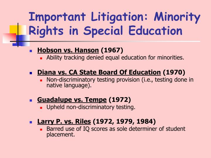 Important Litigation: Minority Rights in Special Education