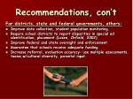 recommendations con t
