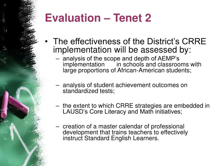 Evaluation – Tenet 2