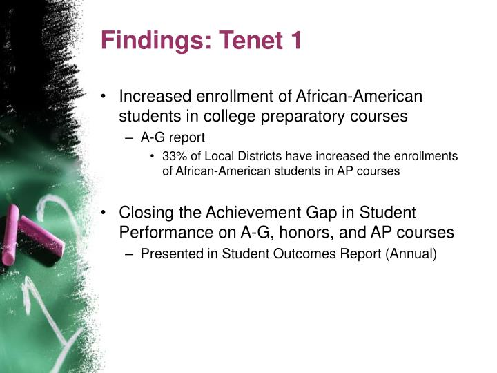 Findings: Tenet 1