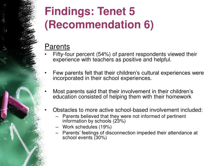 Findings: Tenet 5