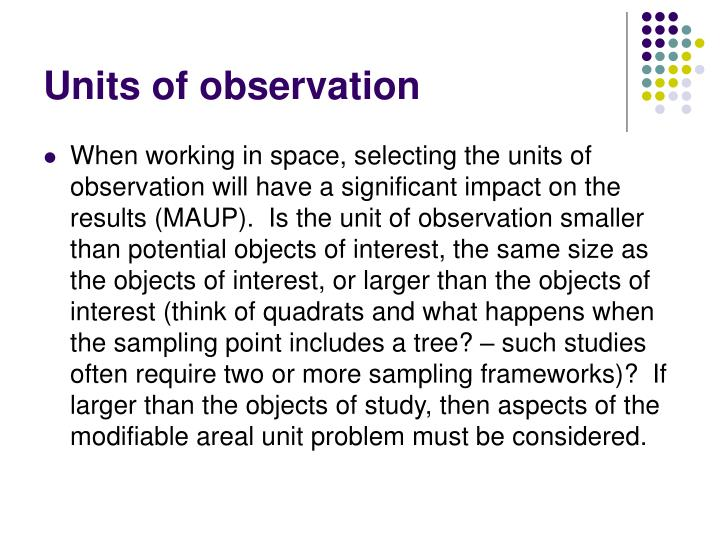 Units of observation