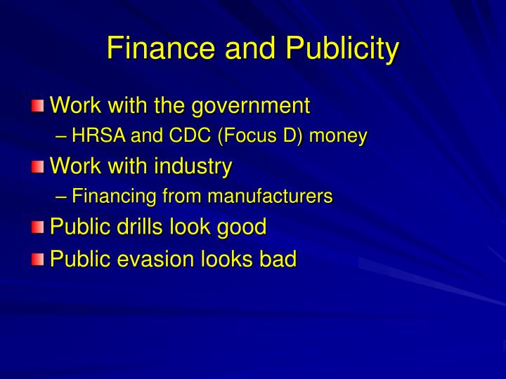 Finance and Publicity