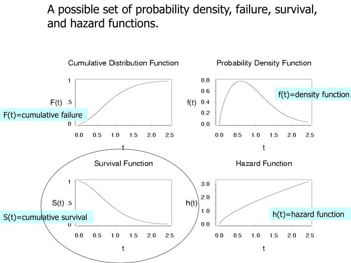 A possible set of probability density, failure, survival, and hazard functions.