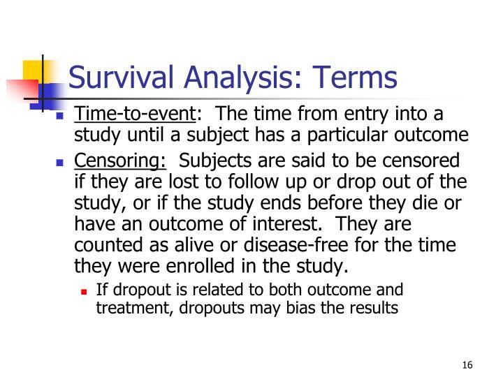 Survival Analysis: Terms