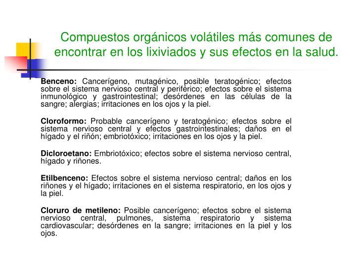 Compuestos orgánicos volátiles más comunes de encontrar en los lixiviados y sus efectos en la salud.