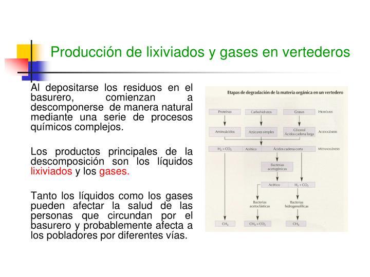 Producción de lixiviados y gases en vertederos