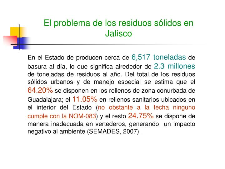 El problema de los residuos sólidos en Jalisco