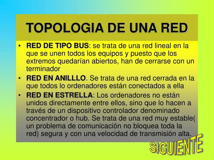 TOPOLOGIA DE UNA RED