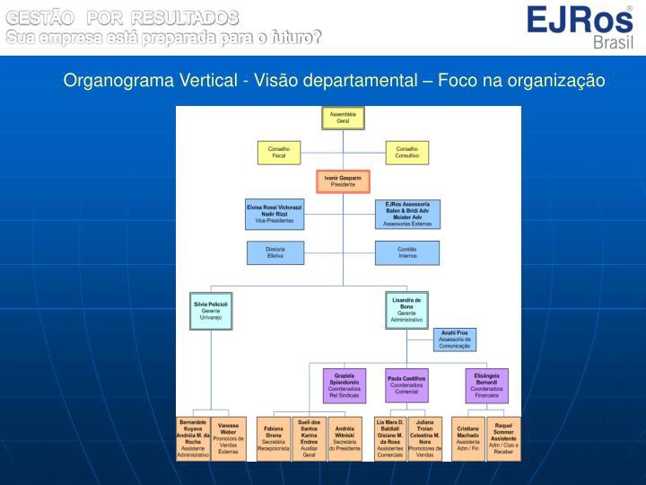 Organograma Vertical - Visão departamental – Foco na organização