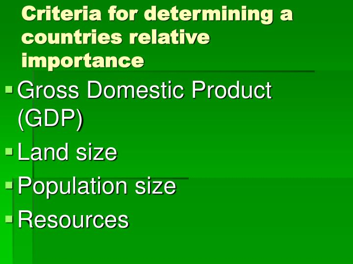 Criteria for determining a countries relative importance