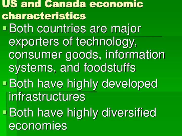 US and Canada economic characteristics
