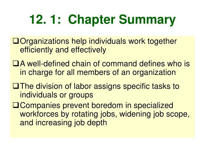12. 1:  Chapter Summary