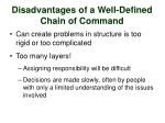 disadvantages of a well defined chain of command