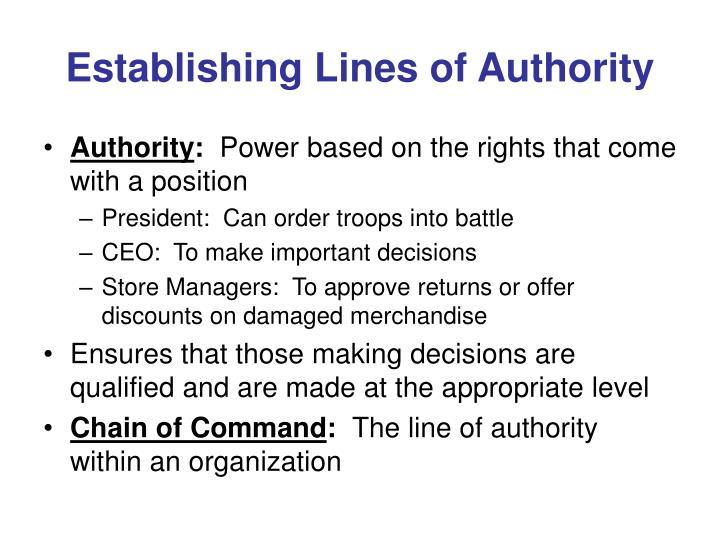 Establishing Lines of Authority