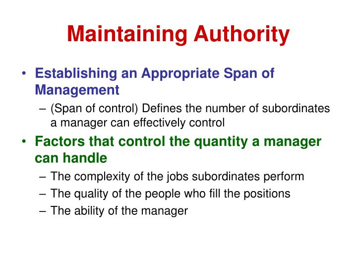 Maintaining Authority
